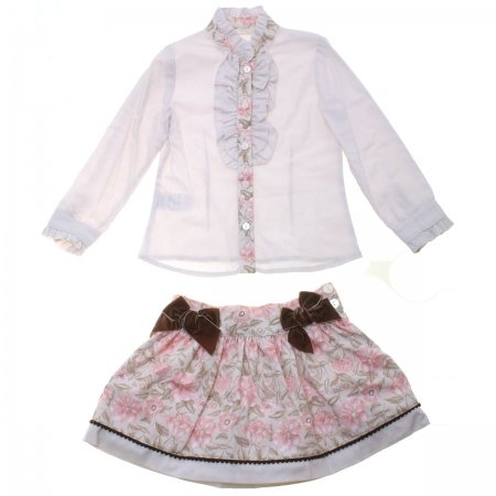 Dolce Petit Girls Light Grey Floral Blouse Pink Floral Skirt Set Chocco Bows 3 Years To 12 Years
