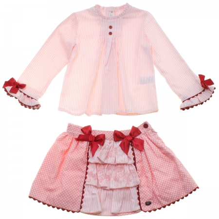 Dolce Petit Girls Pink White Stripes Blouse Pink Skirt Set  Burgundy Bows 3 Years To 12 Years