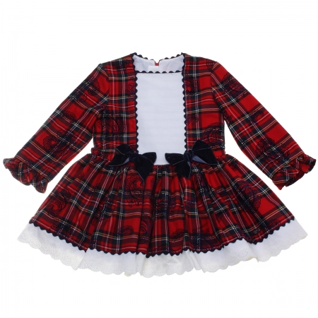 Dolce Petit Girls Red Tartan Dress Navy Bows