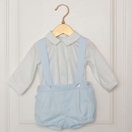 Dolce Petit Baby Boys White Blue Braces Shorts Outfit