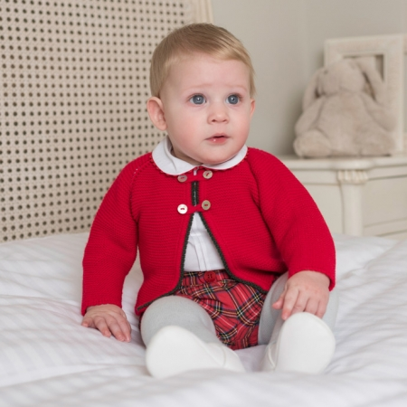 Dolce Petit Baby Boys White Top Red Tartan Shorts Red Cardigan Outfit