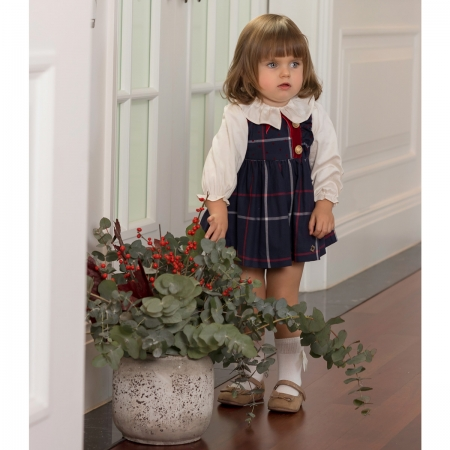 Dolce Petit Baby Girls Ivory Blouse Navy Check Pinafore Dress Outfit