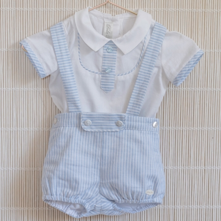 Dolce Petit Baby Boys White Blue Stripes Shirt Braces Shorts Set