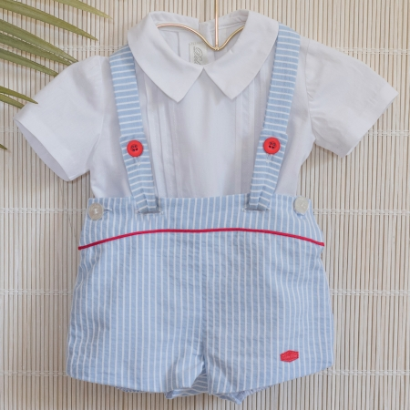 Dolce Petit Baby Boys White Shirt White Blue Stripes Braces Shorts Set