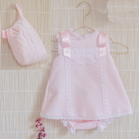 Dolce Petit Spring Summer Baby Girls Pink Dress Panty Bonnet Set