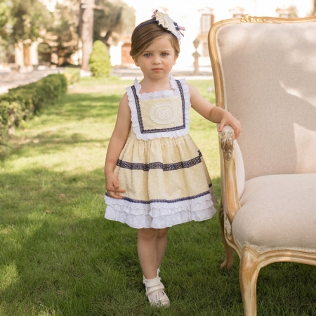 Dolce Petit Spring Summer Girls White Lemon Dress Navy Lace