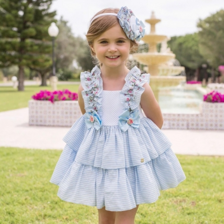Dolce Petit Spring Summer Girls Blue White Stripes Dress Blue Bows