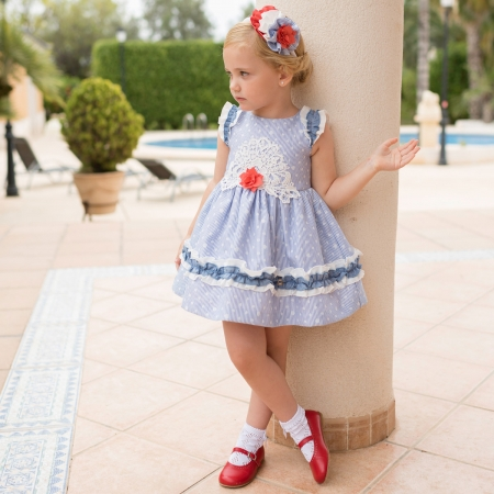 Dolce Petit Spring Summer Girls White Blue Stripes Dress White Blue Frills Red Flower