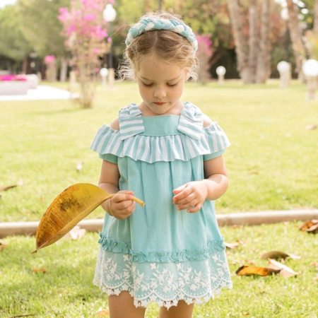 Dolce Petit Spring Summer Girls Aqua Blue White Lace Stripes Dress