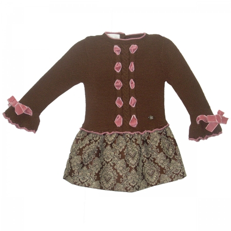 Sale Dolce Petit Girls Chocolate Brown Knitted Floral Dress