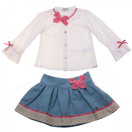 Sale Spanish Dolce Petit Girls Ivory Blouse Blue Skirt Set