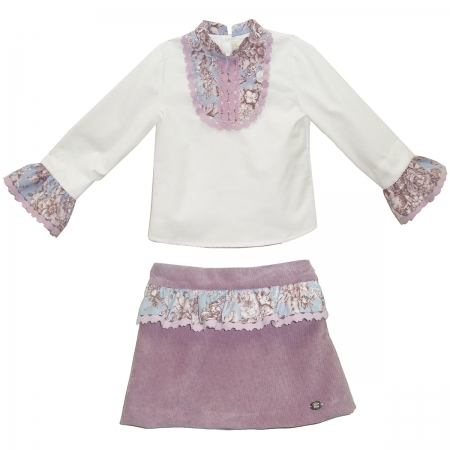 Sale Dolce Petit Girls Ivory Blouse And Dusky Pink Skirt Set