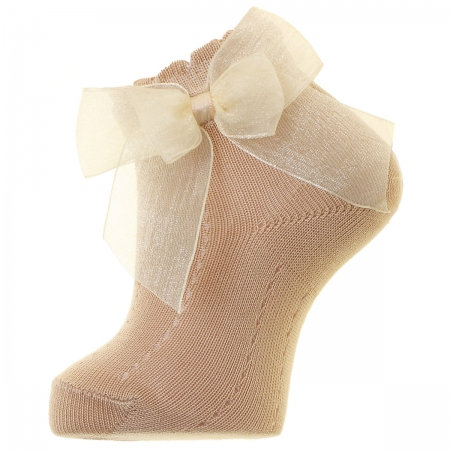 Dark Tan Colour Ankle Socks With Organza Double Bow