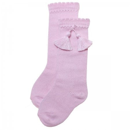 Pink Knee High Cotton Tassels Socks
