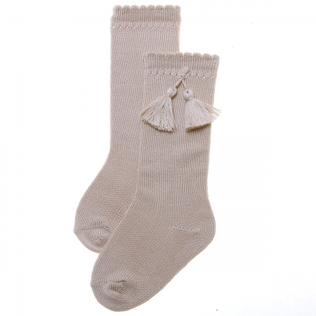 Tan or Sand Colour Knee High Cotton Socks With Tassels