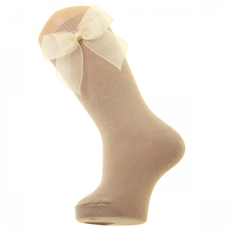 Dark Tan Colour Knee High Socks With Organza Double Bow