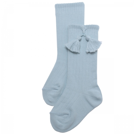 Baby Blue Knee High Ribbed Socks With Tassels For Boys And Girls