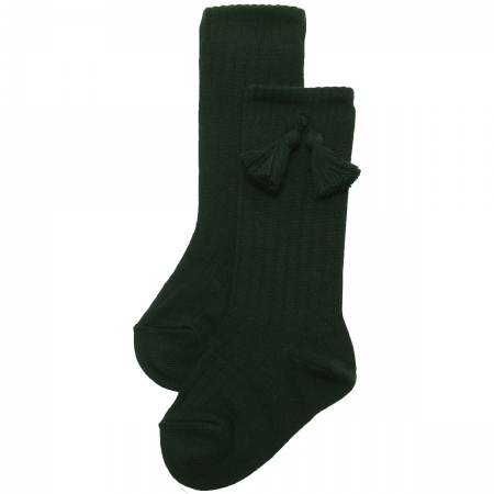 Bottle Green Knee High Ribbed Socks With Tassels For Boys And Girls