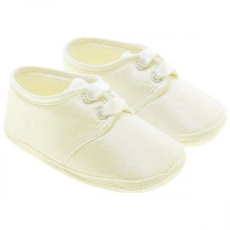 Baby Boy Christening Shoes In Ivory Made in England