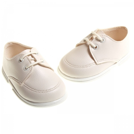 Lace up boys cream shoes for special occasions for baby boy upto 3 years