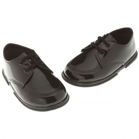 Lace up baby And toddler boys black patent shoes for special occasions