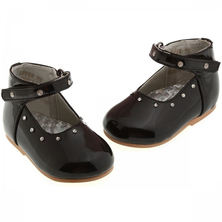 SALE Baby girls black patent shoes with diamonate velco fastening