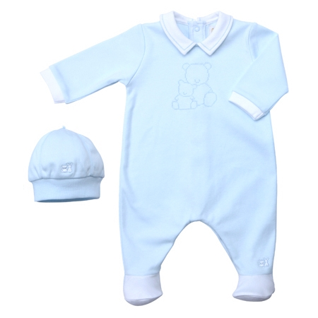 Blue rompers with hat by Emile Et Rose