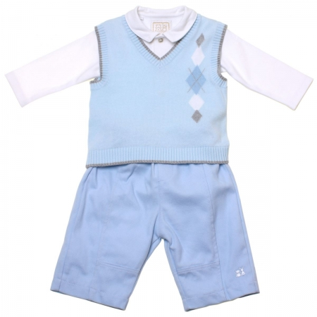 Emile et Rose Boys Outfit In Blue 3 Piece