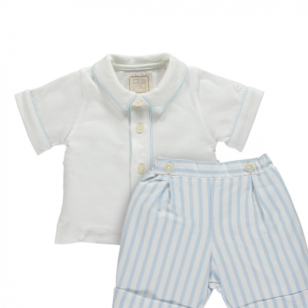 Emile Et Rose Baby Boys 2 Piece White Shirt Blue Stripes Shorts Outfit