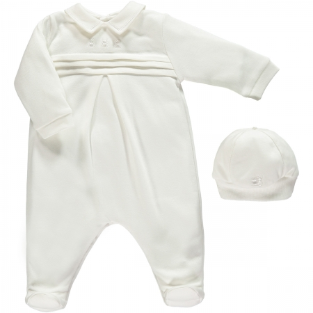 Emile et Rose Baby Boys White Romper Pleated Front With Hat