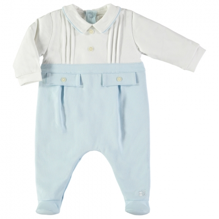 Emile Et Rose Baby Boys White Blue Footed Romper Outfit