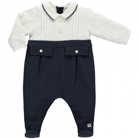 Emile Et Rose Baby Boys White Navy All In One Romper Outfit