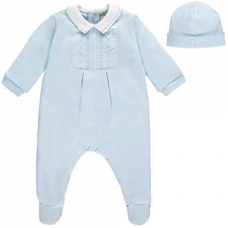 Soft Cotton Baby Boys Blue Footed Romper With Hat By Emile Et Rose