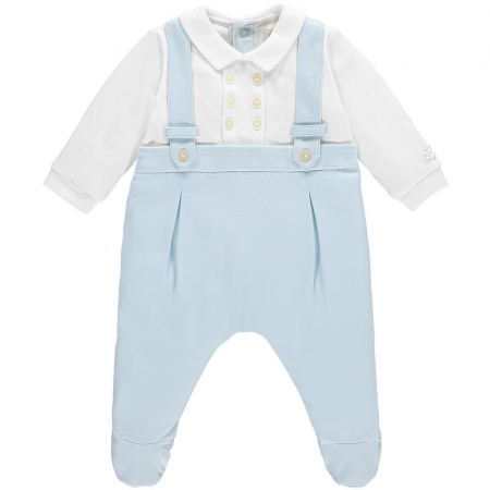 Emile Et Rose Baby Boys White Blue Footed Romper Braces Effect In Soft Cotton