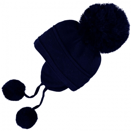 Baby Warm Navy Knitted Bobble Hat With Cosy Ear Cover