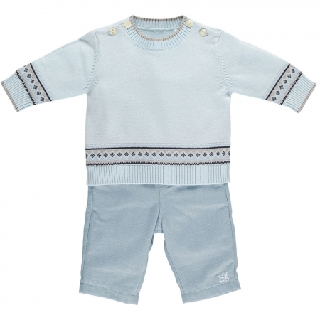 Emile Et Rose Baby Boys Blue Knitted Top Blue Trousers Smart Outfit