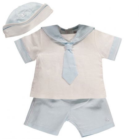 Emile Et Rose Baby Boys White Blue Linen Sailor Outfit With Hat