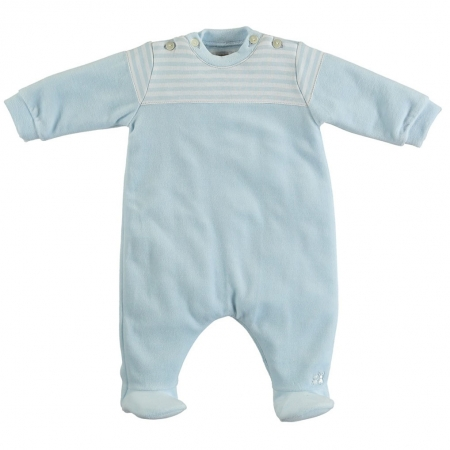 Emile Et Rose Baby Boys Blue Velour Footed All In One Romper