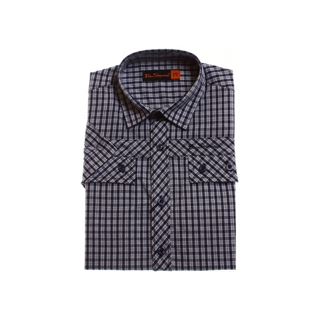 Ben Sherman boys shirt in navy white checks