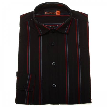 Ben Sherman boys party shirt in black with red stripes
