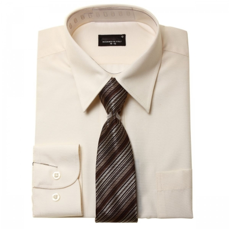 High Quality Boys Formal Shirt With Tie In Ivory Cream