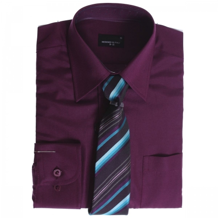 Boys Shirt High Quality Boys Plum Shirt With Tie