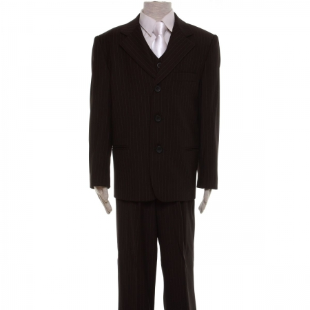 Premium quality boys black pinstripe suit
