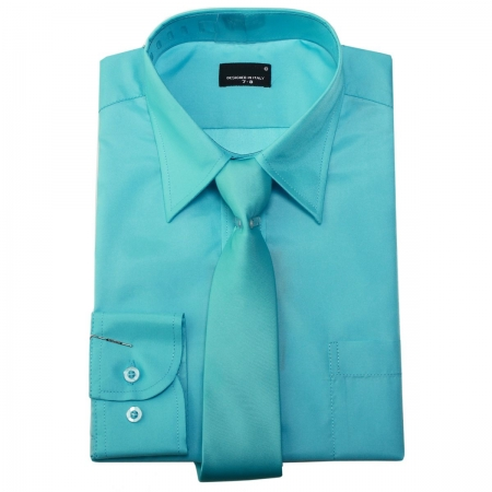 Boys Formal Shirt With Tie Aqua Colour Sheen Fabric