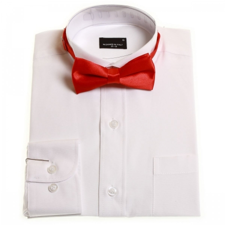 Boys white wing collar shirt with red bow tie