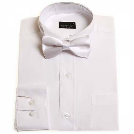 Boys white wing collar shirt with white bow tie