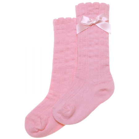 Pink Knee High Bow Socks Scallop Edge Cotton Rich