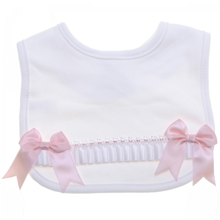 Baby Girls White Bib With White Ribbons And Pink Bows