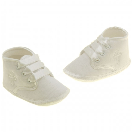 Baby Boys Ivory Christening Shoes With A Cross