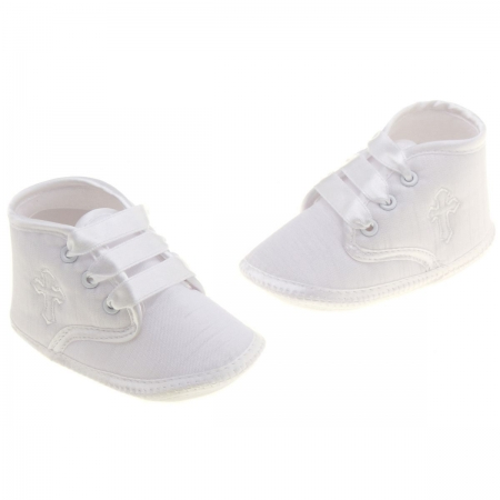 Baby boys white christening shoes with a cross